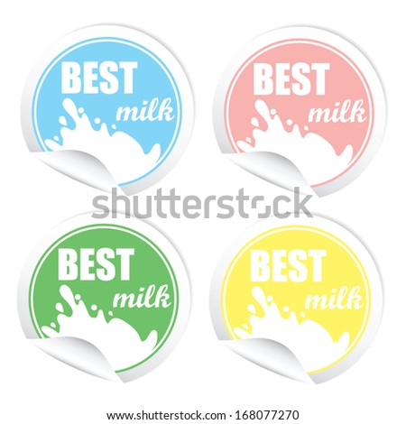 Best milk stickers. Vector illustration  - stock vector