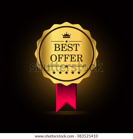 Best offer golden label, vector illustration - stock vector