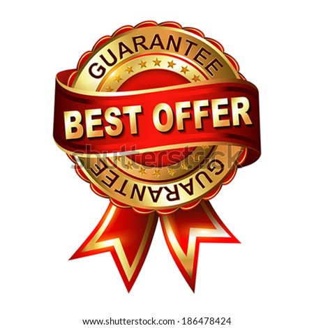 Best offer guarantee golden label with ribbon.  Vector illustration.