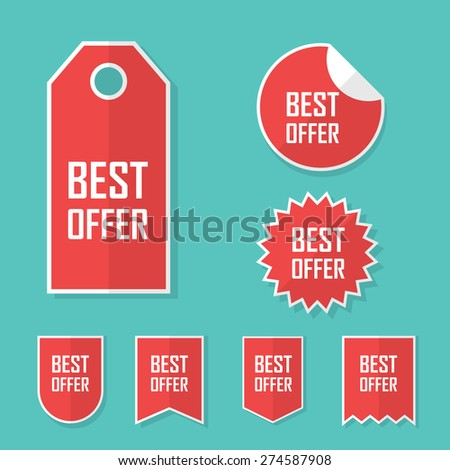 Best offer sale sticker. Modern flat design, red color tag. Advertising promotional price label. Eps10 vector illustration. - stock vector