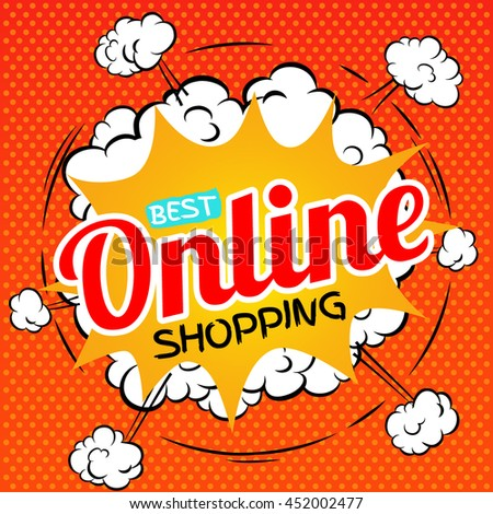 Best online shopping. Vector illustration in pop art style.
