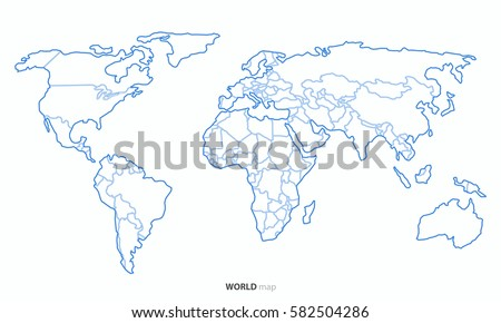 Best Popular World Map Outline Country Graphic Vector