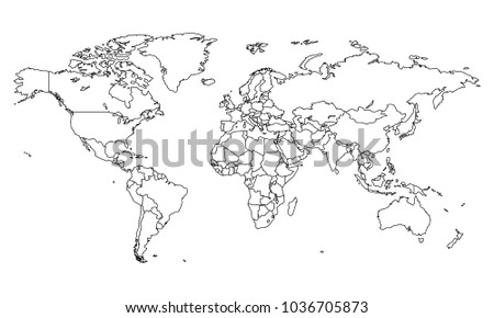 Best popular world map outline graphic stock vector 1036705873 best popular world map outline graphic sketch style world map outline gumiabroncs Images