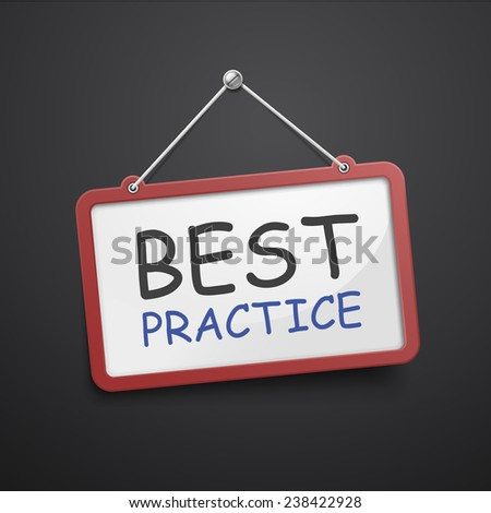 best practice hanging sign isolated on black wall  - stock vector