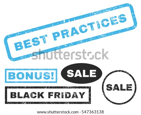 Best Practices rubber seal stamp watermark with bonus banners for Black Friday sales. Vector blue and gray signs. Tag inside rectangular banner with grunge design and unclean texture.