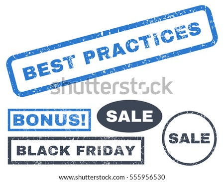 Best Practices rubber seal stamp watermark with bonus design elements for Black Friday offers. Vector smooth blue signs. Caption inside rectangular shape with grunge design and dust texture.