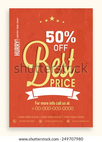 Best price in limited time sale flyer, banner or template with discount offer. - stock vector