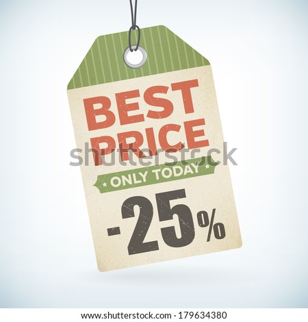 best price only today paper -25 percent price off vector tag. isolated from background. layered. - stock vector