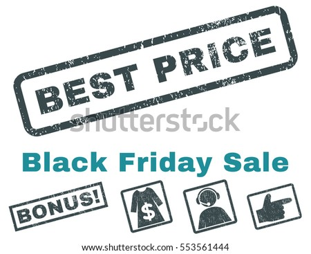 Best Price rubber seal stamp watermark with bonus images for Black Friday offers. Vector soft blue stickers. Tag inside rectangular shape with grunge design and unclean texture.