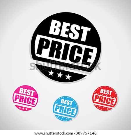 Best price tag, simple circular shape with one color design - stock vector