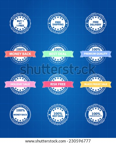 Best Product Sale Retro Badges Icons On Blueprint