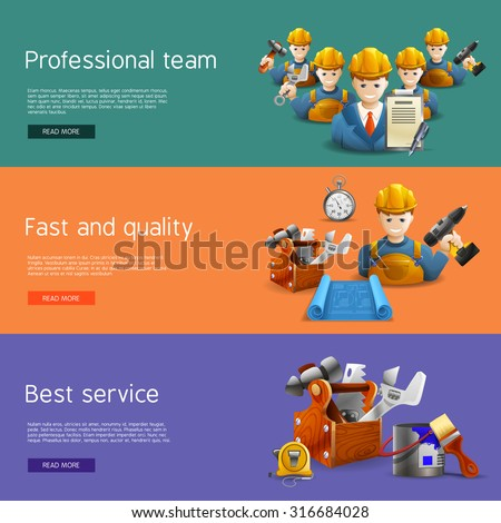 Best quality and time professional remolding service team offer isometric horizontal banners set abstract isolated vector illustration - stock vector