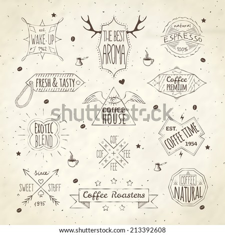 Best quality coffee house fresh espresso aroma retro emblems labels collection doodle sepia sketch isolated vector illustration