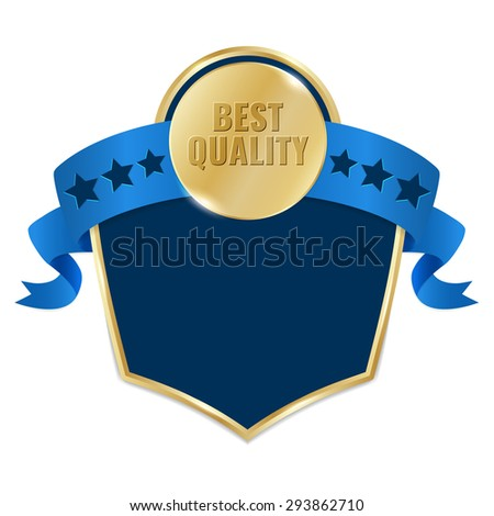 Best Quality gold tag with blue ribbon. Concept of premium product label. Vector promotion illustration. - stock vector