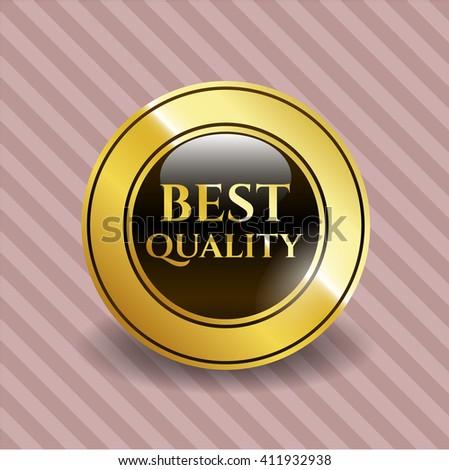 Best Quality golden badge - stock vector