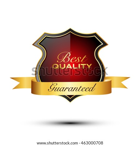Best quality guaranteed golden label. Best quality golden badge, vector illustration