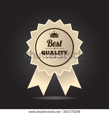 Best quality guaranteed label. Best quality badge, vector illustration - stock vector