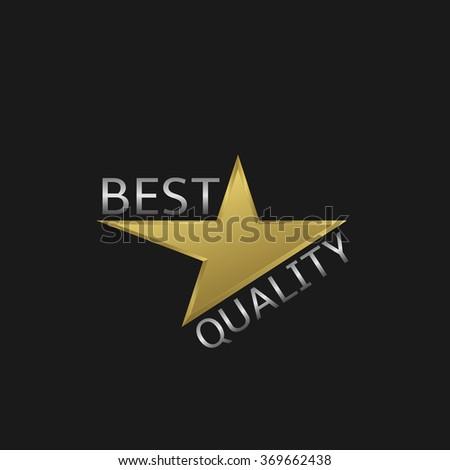 Best quality metal label. Golden star, Vector illustration - stock vector
