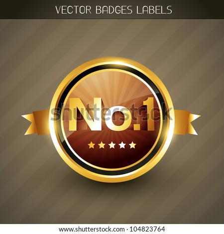 best quality no. 1 winner golden label - stock vector