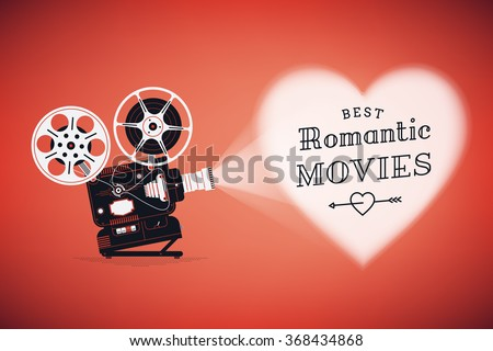 Best romantic movies concept illustration with retro movie film projector projecting heart on red background vector illustration