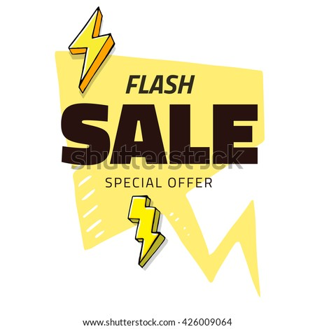 Best sale flash doodle speech bubble, vector discount tag black banner, isolated - stock vector