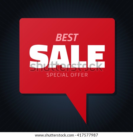 Best sale red hamd drawn speech bubble for design, vector doodle isolated discount tag black banner