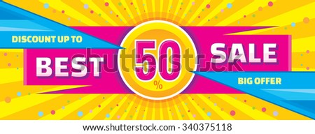 Best sale vector banner. Discount up to 50% vector banner. Sale layout. Sale background. Sale poster. Discount layout. Sale flyer. Big offer vector banner. Abstract horizontal vector banner of sale.  - stock vector