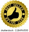 Best seller golden label, vector illustration - stock vector