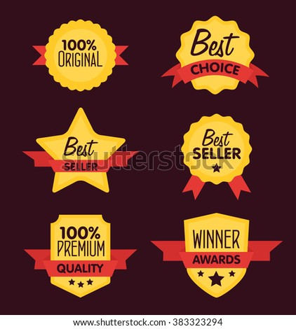 Best seller icon. Original icon. Special offer icon. Best choice sticker. Best seller tag. Winner awards label. Best seller sticker. Sale and retail sticker set. Sale sticker template. Premium quality - stock vector