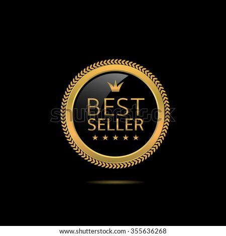 Best seller label. Golden award badge, Vector illustration - stock vector
