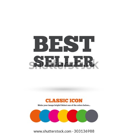 Best seller sign icon. Best seller award symbol. Classic flat icon. Colored circles. Vector - stock vector