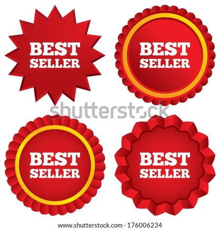 Best seller sign icon. Best seller award symbol. Red stars stickers. Certificate emblem labels. Vector - stock vector