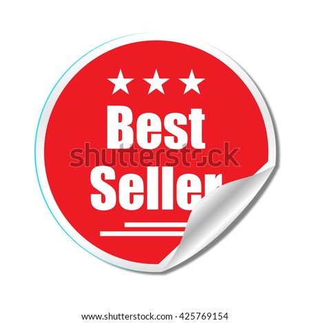 Best seller sticker isolated background and stylish design - stock vector