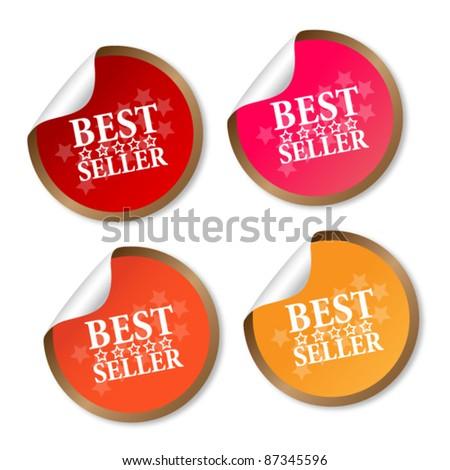 Best seller stickers - stock vector