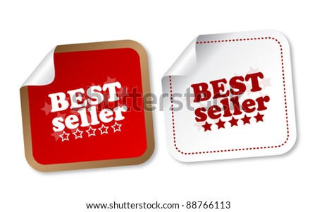 Best seller stickers - stock vector