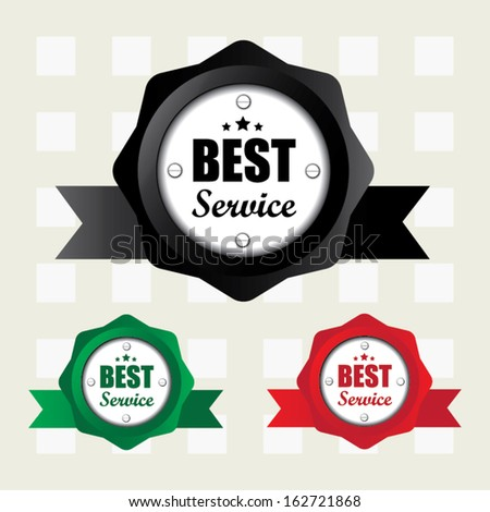 Best service colorful labels with ribbon. Vector.  - stock vector