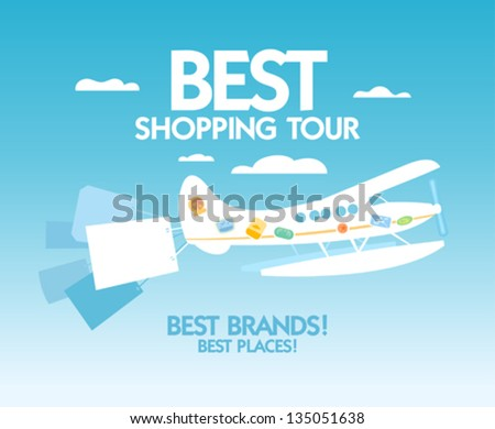 Best shopping tour design template with airplane and paper bags. - stock vector