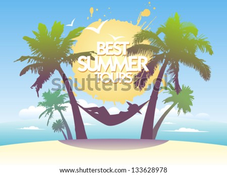 Best summer tours design template with tropical landscape.