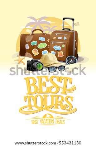 Best tours design concept with two big suitcases, sunglasses, hat, compass and camera, against summer beach resort on a backdrop, marine travels, summertime