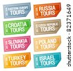 Best tours stickers in form of  tickets. - stock photo