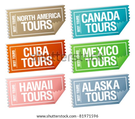 Best tours stickers in form of  tickets. - stock vector
