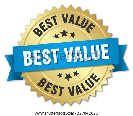 best value 3d gold badge with blue ribbon - stock vector