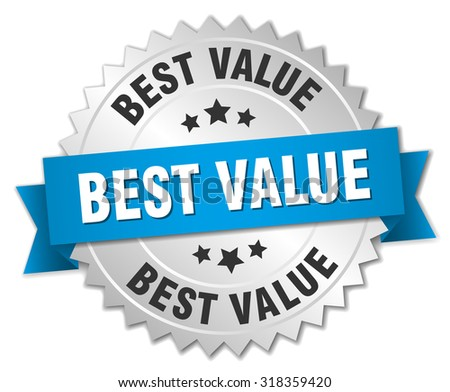 best value 3d silver badge with blue ribbon - stock vector