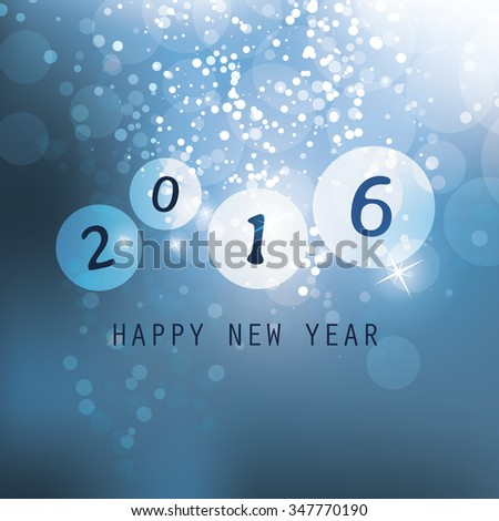 Best Wishes - Blue Abstract Modern Style Happy New Year Greeting Card, Cover or Background, Creative Design Template - 2016 - stock vector