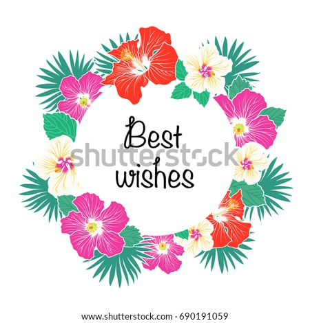 Best wishes greeting card palm leaves stock vector 690191059 best wishes greeting card with palm leaves and hibiscus flowers vector illustration m4hsunfo