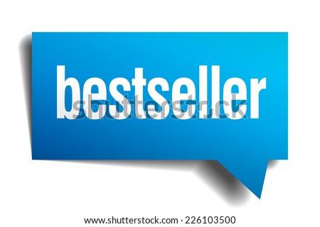 bestseller blue 3d realistic paper speech bubble - stock vector