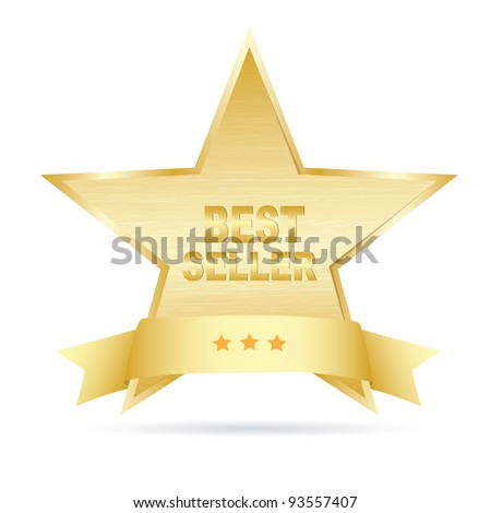 Bestseller gold label. Vector - stock vector