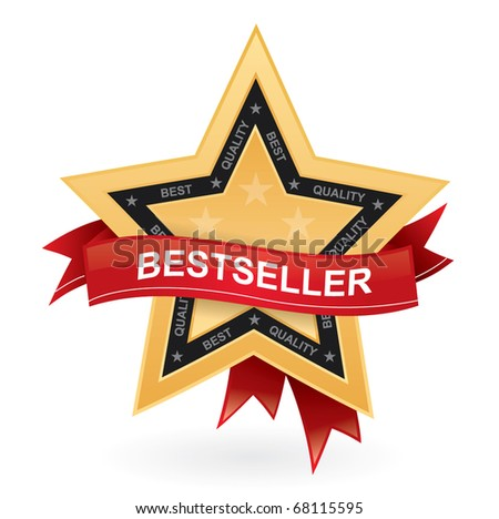 Bestseller promotional vector sign - gold star with red ribbon - stock vector