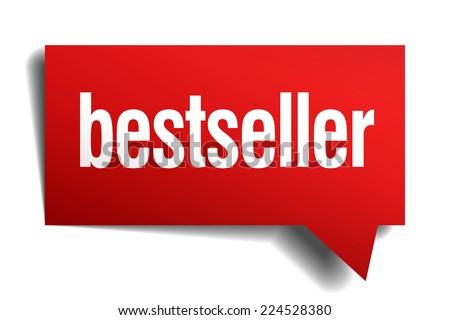 bestseller red 3d realistic paper speech bubble - stock vector