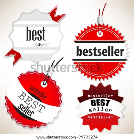 Bestseller. Red  labels. Vector set - stock vector